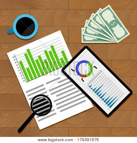 Financial Business Statistics. Economy annual data document analytic infograph statistical vector illustration
