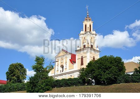 Bernardine Church and Monastery in Baroque style against the blue sky in Grodno, Belarus.