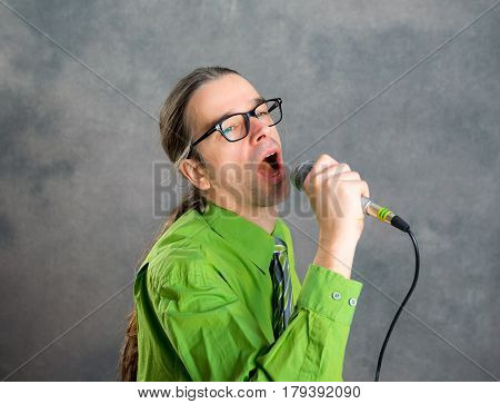 Crooner In Green Shirt And Necktie