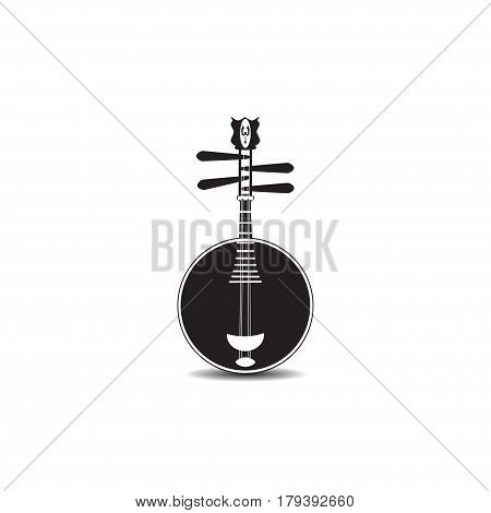 Vector black and white yueqin isolated on white background. Chinese string plucked musical instrument.