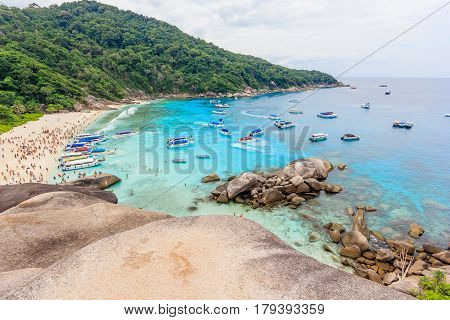 View Point at Similan island beautiful crystal clear sea at tropical island Similan island Andaman sea Phuket Thailand