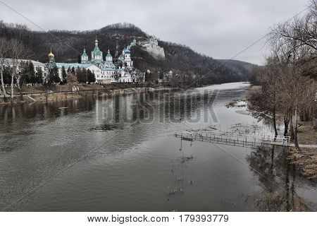 Church of the Intercession of Sviatohirsk Lavra. Sunny and cloudy day in March