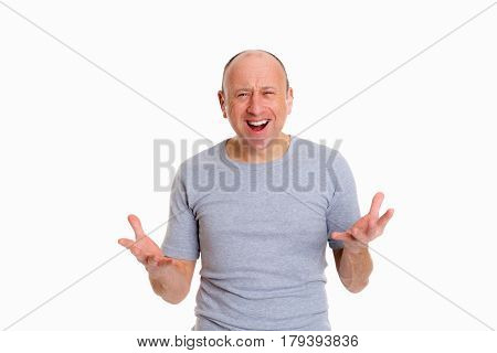Baldheaded Man With Open Hands Looking Surprised