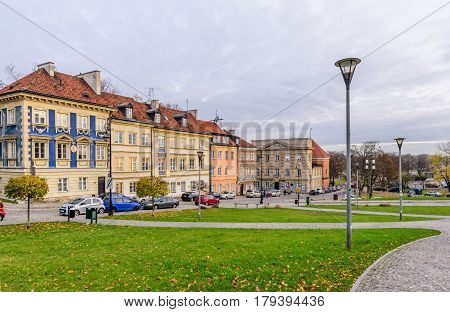 Warsaw, Poland - November 4, 2016: old houses with beautiful facades in the centre of Warsaw