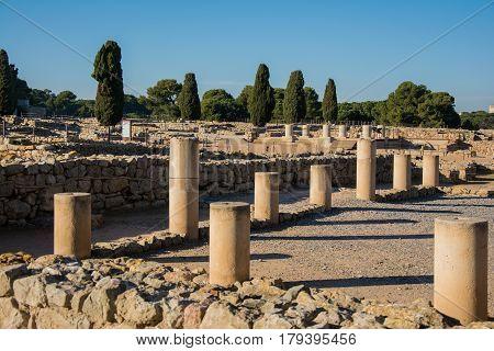 Columns from Greco roman ruins of Emporda, Costa Brava, Catalonia, Spain