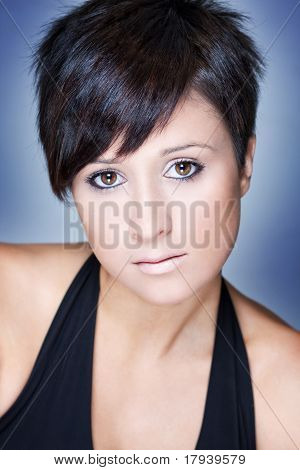 Fashion Portrait Of A Beautiful Woman With Short Hair