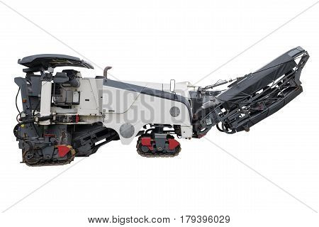 industrial machine for road works isolated on white background