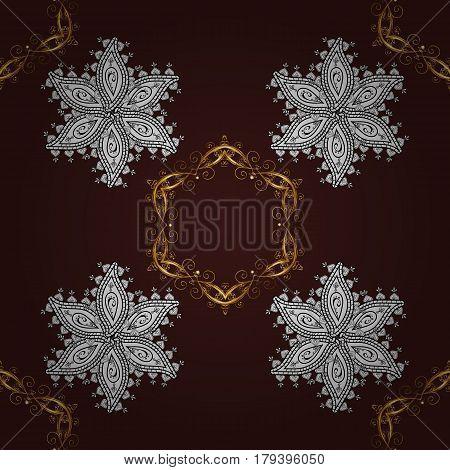 Golden pattern on brown background with golden elements. Vector geometric background. For your design sketch. Golden color seamless illustration.