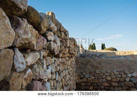 Walls from Greco roman ruins of Emporda, Costa Brava, Catalonia, Spain