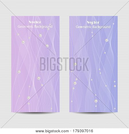 Set of vertical banners. Beautiful white tulle with pearls on violet background