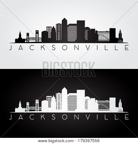 Jacksonville USA skyline and landmarks silhouette black and white design vector illustration.