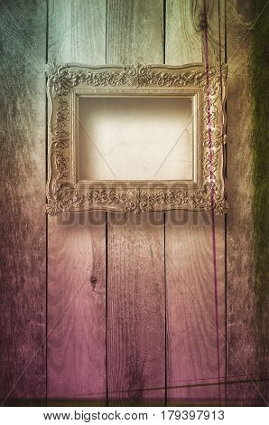 Old room grunge interior with frames in style baroque