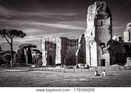 ROME, ITALY - OCTOBER 5, 2012: The ruins of the Baths of Caracalla, ancient roman public baths in Rome, Italy