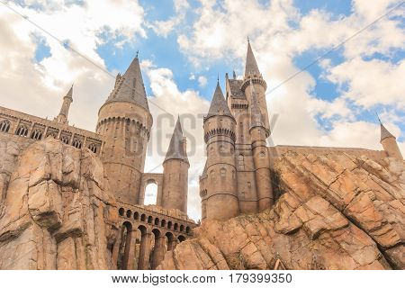ORLANDO, USA - JANUARY 05, 2017: The Hogwarts Castle at Universal Studios Islands of Adventure. Universal Studios Orlando is a theme park in Orlando Florida USA.