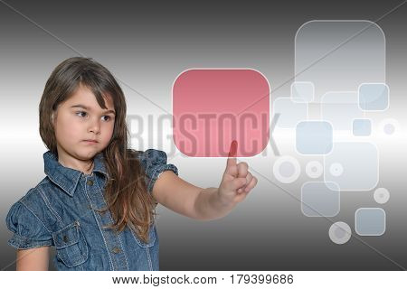 Pensive little girl is touching the transparent red rectangle touchscreen empty and ready for your text. All is on the gray gradient background with empty gray rectangles and circles.
