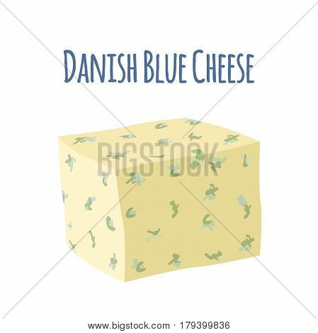 Danish blue cheese with mould - danablu. Dairy milky product. Cartoon flat style.