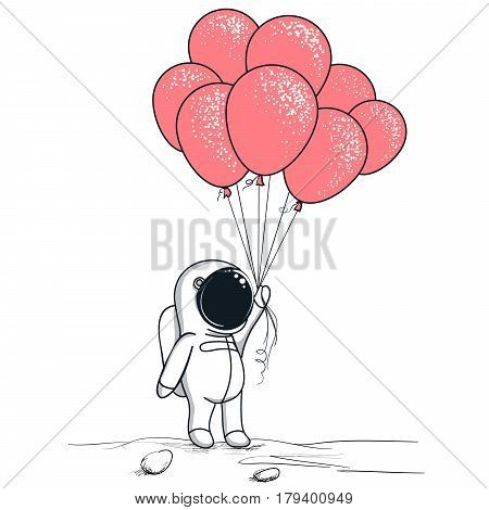 Spaceman on the moon.Cute astronaut keeps red balloons.Childish hand drawn vector illustration