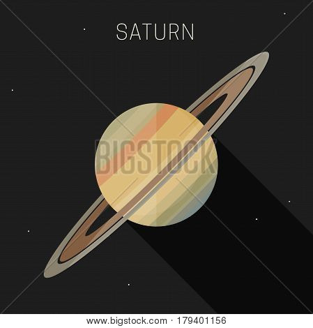 Saturn planet in flat style with long shadow. Vector simple illustration of solar system with saturn.