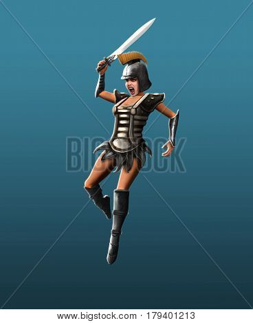Gladiator girl makes a jab in the jump
