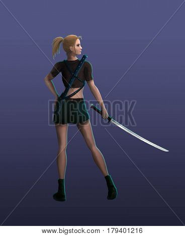 The Samurai girl stands in a menacing stance