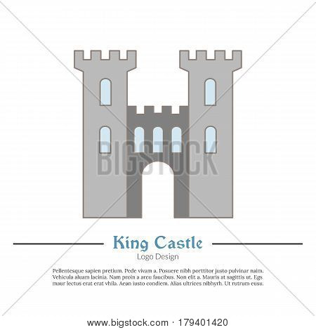 Medieval King castle tower. Single logo in modern flat thin line style isolated on white background. Colorful medieval theme symbol. Simple medieval pictogram logotype template. Vector illustration
