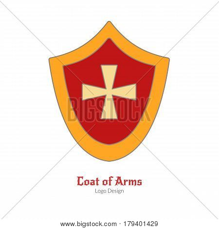 Medieval heraldic shield. Single logo in modern flat and thin line style isolated on white background. Colorful medieval theme symbol. Simple medieval pictogram logotype template. Vector illustration