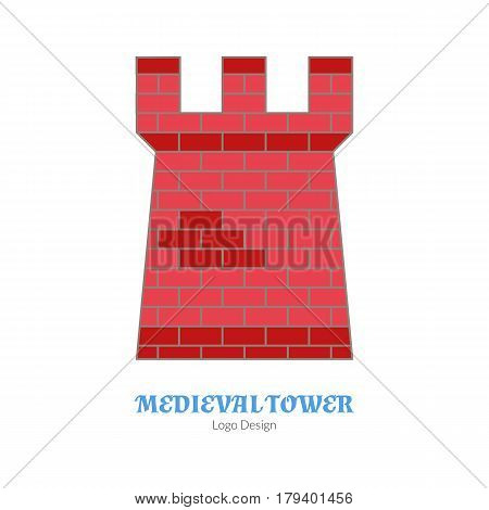 Medieval tower fortification. Single logo modern flat thin line style isolated on white background. Colorful medieval theme symbol. Simple medieval pictogram logotype template. Vector illustration.