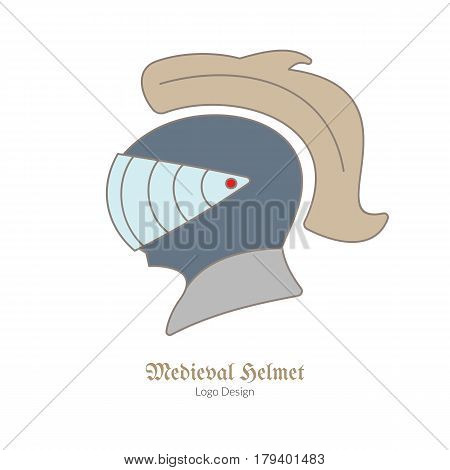 Medieval Knight protection helmet. Single logo in flat thin line style isolated on white background. Colorful medieval theme symbol. Simple medieval pictogram logotype template. Vector illustration.