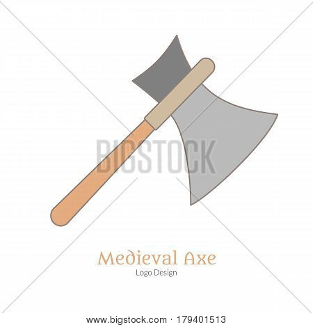 Medieval guard battle axe broadax. Single logo flat thin line style isolated on white background. Colorful medieval theme symbol. Simple medieval pictogram logotype template. Vector illustration.