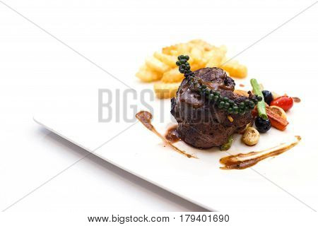 Grilled Beef Steaks With Spices And Black Pepper Sauce