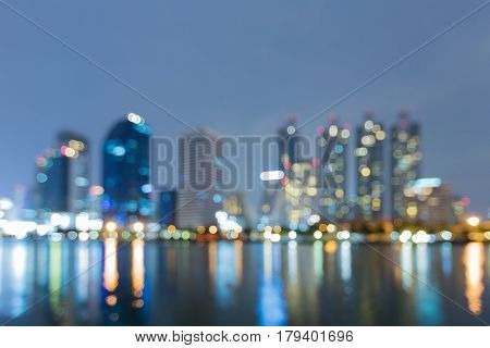 Night bokeh light office building abstract background