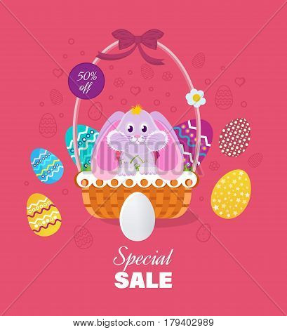 Easter sale banner and greeting card. A nice hare, sitting in a basket next to Easter eggs. Vector illustration. Can be used in banners, brochures, postcards, congratulations.