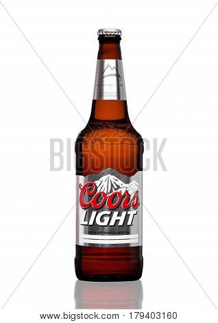 London,uk - March 30, 2017 : Bottle Of Coors Light Beer On White. Coors Operates A Brewery In Golden