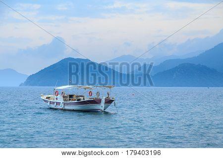 Small boat in the sea in marmaris turkey