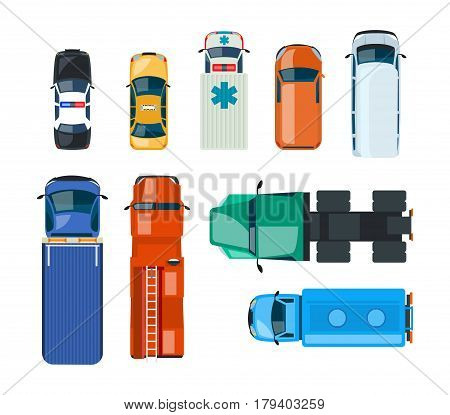 Realistic cars and trucks: police, taxi, emergency, fire service, truckers, mail, gazelle, watering, tow truck, top view Vector illustration Can be used in banners brochures design
