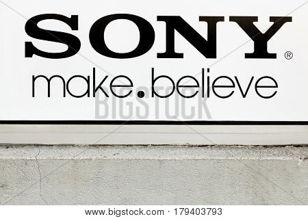 Villefranche, France - March 13, 2017: Sony logo on a wall. Sony is a Japanese multinational conglomerate corporation that is headquartered in Konan, Japan