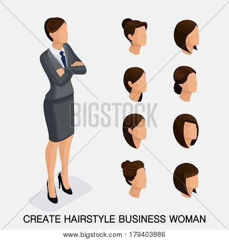 Trendy isometric set 7 women's hairstyles. Young business woman hairstyle hair color isolated. Create an image of the modern business woman. Vector illustration.