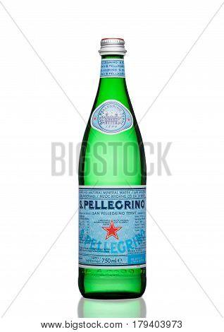 London,uk - March 30, 2017 : Bottle Of San Pellegrino Mineral Water On White. San Pellegrino Is An I