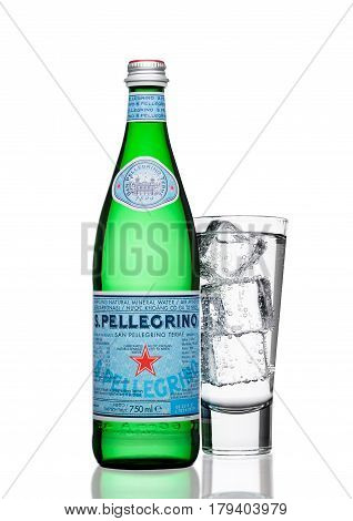 London,uk - March 30, 2017 : Bottle With Glass Of San Pellegrino Mineral Water On White. San Pellegr