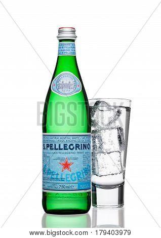 London,uk - March 30, 2017 : Bottle With Glass Of San Pellegrino Mineral Water On White. San Pellegr