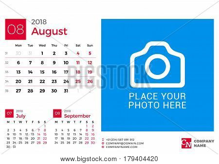 Calendar For 2018 Year. Vector Design Print Template With Place For Photo And Company Logo. August 2