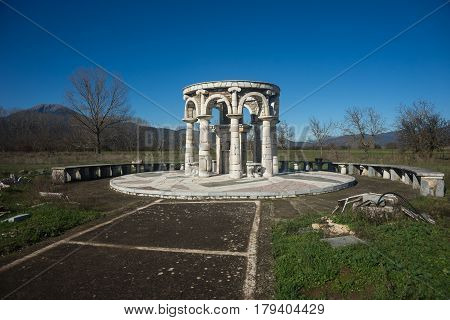 Temple At Ancient Mantineia, Arcadia, Peloponnese, Greece