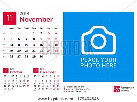 Calendar For 2018 Year. Vector Design Print Template With Place For Photo And Company Logo. November