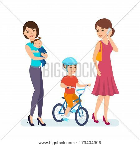 Young girl walking with kids, one of the girls in the hands of a little girl, the other talking on the phone, next to a boy rides on a bike. Vector illustration isolated in cartoon style.
