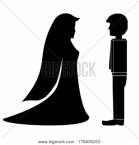 Black fiance and fianceel wedding black icon.