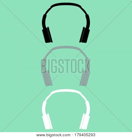 Headphones Earphones Double Head Receiver Earpieces Icon.