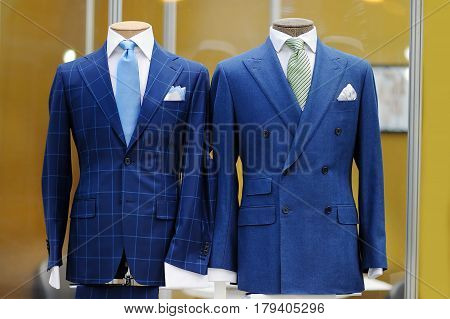 Beautiful Blue Suits On A Mannequin