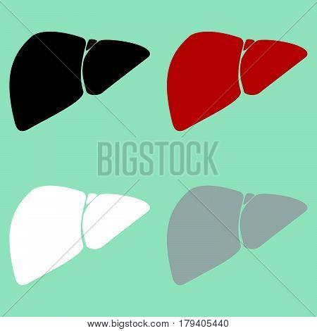 Red Black Grey White Liver Hepar Icon.