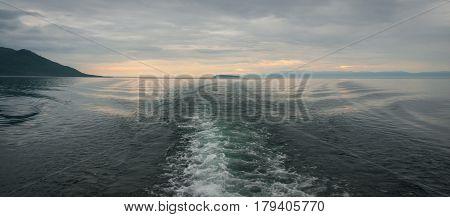 Sunrise over the deepest Baikal lake, Russia