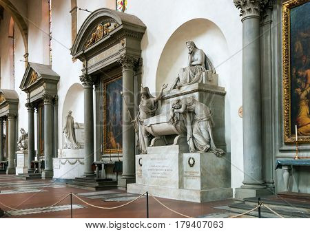 FLORENCE, ITALY - MAY 11, 2014: Tomb of Dante in the Basilica of Santa Croce in Florence, Italy.